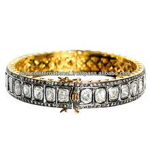 Brazalete con Diamantes con Corte de Rosa Incrustados Brazalete en Oro Amarillo de 14k y Plata Esterlina 925 con Diamantes