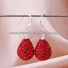 Beautiful Clay Pave Light Siam Red Crystal Ball Rhinestone Water Drop Shamballa Earrings