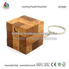 wooden iq puzzle Locking Keychain