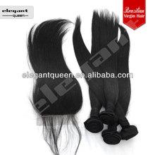 "Remy Hair 4 pcs Lot Free Shipping 1 Pcs Closure 4x4"" with 3pcs Human Hair Extension"