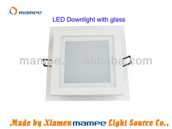 15W Square LED downlights 230V with glass