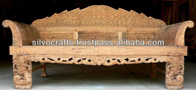 Royal Antique Indian Carved Teak Wooden Furniture From