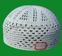 100% Cotton High Quality Hand Knitted Crochet Muslim Prayer Caps Hats, Islamic Prayer Caps