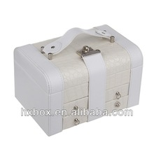 White PU Leather rim jewelry box with drawers and compartments, mirror, lock from the top