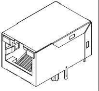 Shielded PCB modular jack RJ45(8P8C) port, LED, green-yellow 10/100BASE-T circuit black, side entry