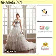 glamour a strati fidanzata bordare pesante diamanti bianchi abiti da sposa di pizzo per le donne mature