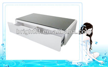 new arrival MDF high gloss white + black tempered glass coffee table with drawers #QJ-089