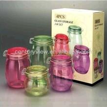 spray colored clip lid 4pcs glass unique canister sets