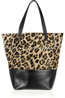 Trendy Calf hair-on leather Leopard Print Tote Women Evening Bag