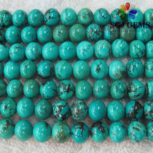 10mm Round Dyed Green Color Turquoise Beads