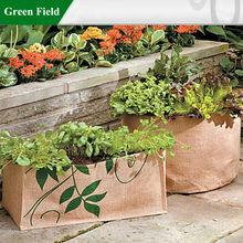 Green Field Rectangular Herb Jute Planting Bag