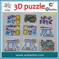 Forma 3d puzzles/rompecabezas del juego, rompecabezas de plástico