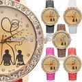 as mulheres novo cristal de quartzo sintético couro pulseira do relógio de pulso imagem amor