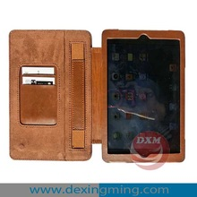 For iPad Mini Top-grade Crazy horse Grain Case with Handheld Strap and Card Slots pen slot