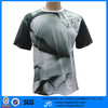 sublimation print cotton t shirt with PU sleeve
