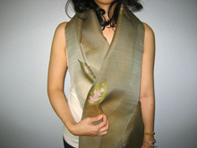 Laos Silk Sheer Organza Scarf / Shawl w Tassels - Olive w Pink Leaves