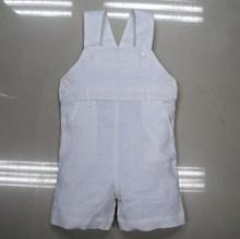 White linen baby boys shortall