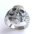 alto polido aço inoxidável grosso de prata anel de caveira