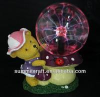 Polyresin bear decorative magic plasma ball