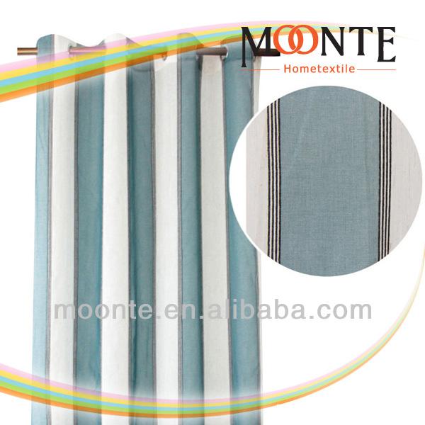 Aqua Semi-Sheer Lined Shower Curtains