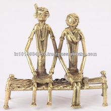 brass hand crafted handicraft tribal 2 man talking oldest art dhokra