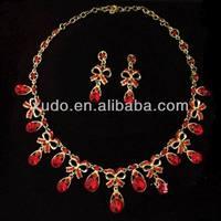 latest fashion handmade red crystal pakistani gold jewelry sets