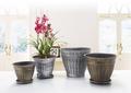 Redondeado baratos plata hg-9004 cuadrado pintado a mano ollas, maceta de plástico, jardín jardineras