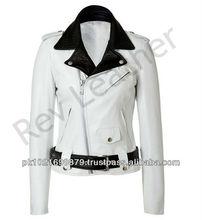 Women Ladies Girl Real Leather Brando Classic Perfecto Jacket Biker Fashion Winter Coat Two Tone Diagonal Front Zip Modern