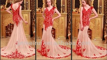 A Line Tulle Appliques Sweep Elegant Long Evening Dress 2014 Custom Made Sleeveless Wholesale Formal Prom Dresses DP361
