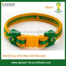 Custom logo 2014 WORLD CUP brazil flag bracelet promotion gifts