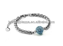 Sterling Silver Colored Blue Crystal-encrusted Sphere Bracelet