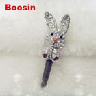 Lovely charm! Rhinestone rabbit charm animal iphone dust plug