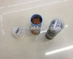 tin container packing color pencils with pencil sharpener