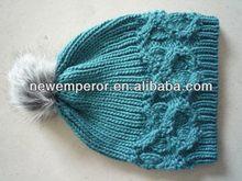 acrylic bonnet with fur pompom