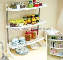 BAOYOUNI removable kitchen 3-tier plastic shelving plastic spice rack