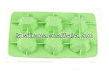 Food grade non-stick diamond shape silicone ice cube tray