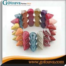 Candy color rivet acrylic rainbow loom charm bracelet