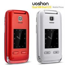 Tipo flip dual sim linda china telefone móvel com grandes números e de discagem rápida toque telefone celular de tela dupla