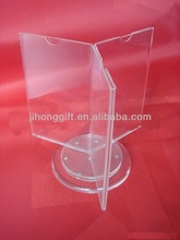A3 size acrylic triangle revolving menu holder/ three sides acrylic rotate table stand menu holder/ clear acrylic menu holder