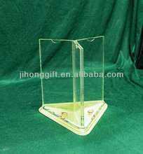 A4 size acrylic triangle revolving menu holder/ three sides acrylic rotate table stand menu holder/ clear acrylic menu holder