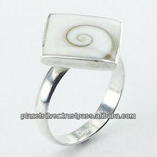 Stylish Diamond Shaped Shiva Eye Shell Sterling Silver Ring