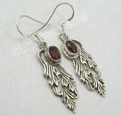 925 Sterling Silver GARNET BIRD Dangle Earrings 4.6CM