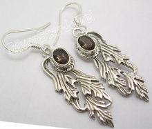 925 quartzo fumê prata longo pássaro oscila brincos 4.6 CM