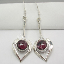925 Sterling Silver GARNET LONG Dangle Earrings 5.2CM