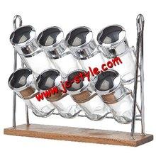 Desktop chromed metal spices bottle display holder/Neat salt and pepper storage rack/promotional wire kitchenware