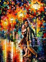 heavy textured night scene oil painting