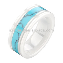 2013 fashion turquoise inlay white ceramic ring
