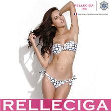 RELLECIGA 2014 New Black Circle Foil V Wire Sexy Strapless Bikini Swimwear for Mature Woman