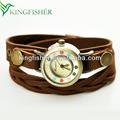 Multi vertentes pulseira de couro relógio relógios raros para as mulheres!! Alta qualidade pulseira de couro wrap relógios raros fabricante na china