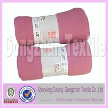 pink color polyester fleece air conditioning blanket